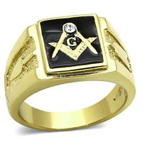 2015 New IP Gold Plated Men S Fashion Ring High Polished Stainless Steel Masonic Rings Environmental