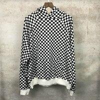 Black White Checkered Hoody Oversize Drop Shoulder Kangaroo Pocket Pullover Free Shipping