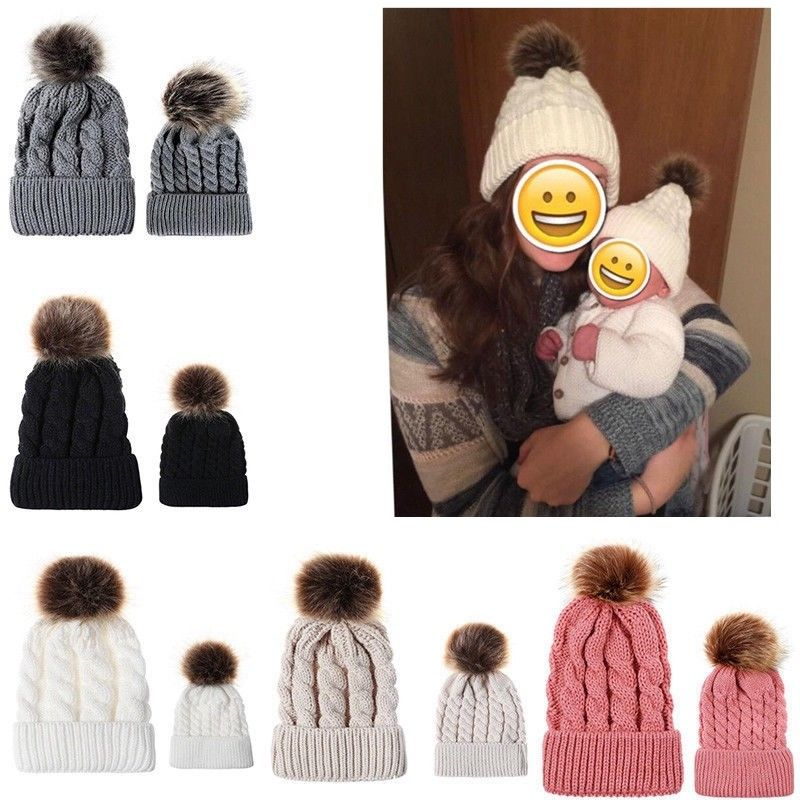 Mother and Newborn Baby Kids Warm Knitted Solid Winter Hats