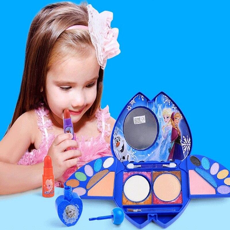 Дисней Замороженные Дети макияж Девушки Игрушки для 8 лет девушки игры Косметика принцесса макияж тени для век губная помада набор игрушки