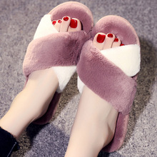 купить Women Winter Faux Fur Home Slippers Shoes Non-slip Soft Winter Female Slides Warm House Slippers Indoor Bedroom  Floor Shoes по цене 389.48 рублей