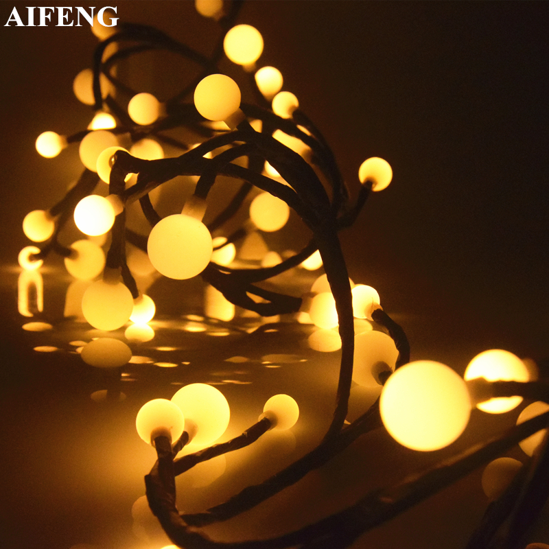 AIFENG 72Leds Branch Ball Led String Light 8 Modes Warm White Fairy Garland For Christmas Wedding Party Decoration Holiday Light 3w 20 led white decoration string light for wedding christmas fairy party transparent