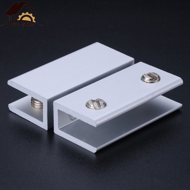 2PCS Myhomera Glass Clamps For 5/8/10mm Shelves Holder Corner Bracket Clamp Aluminum Thick Glass Clips 6 Sizes 8x40mm 10x60mm