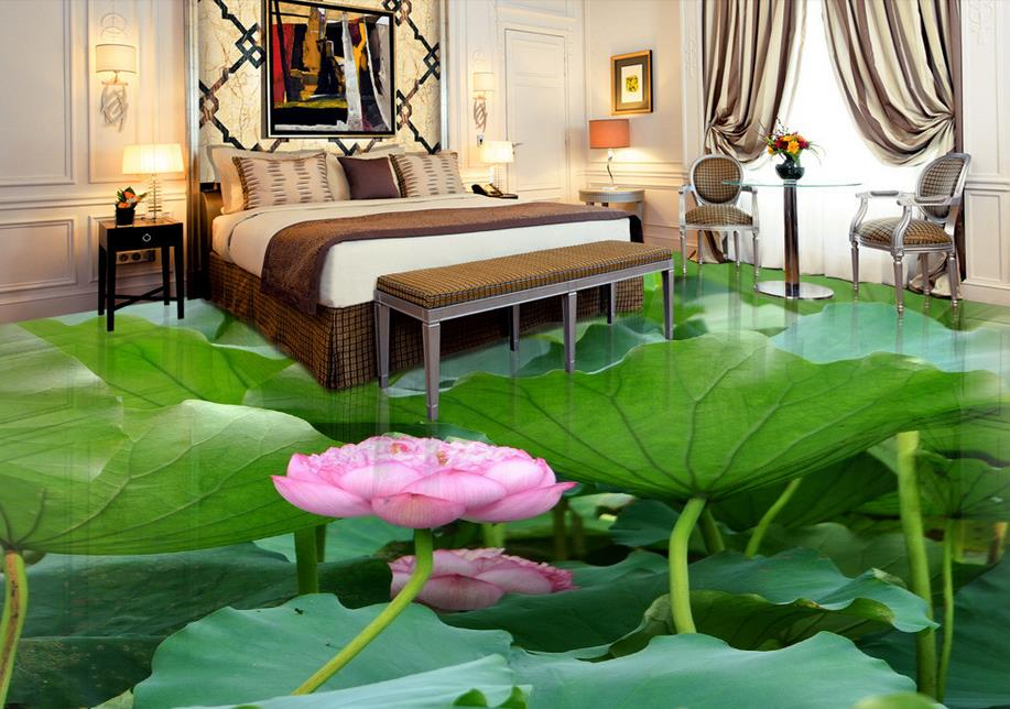 ФОТО 3d floor self-adhesive wallpaper custom 3d floor tiles Indoor lotus mural 3d flooring waterproof wallpaper for living room