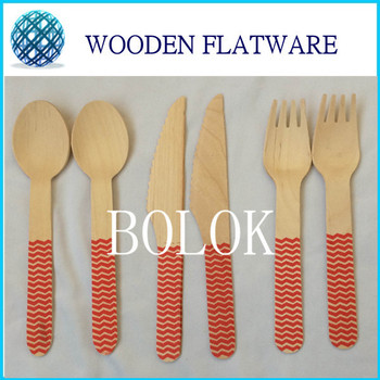 100set(300pcs) 16cm Disposable Colorful Wooden Tableware Forks Knife Spoon