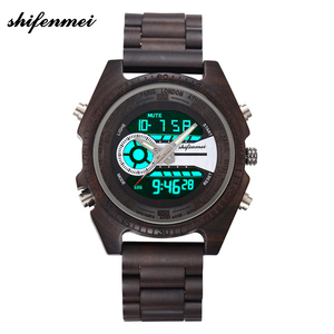 Image 3 - Shifenmei Digital Wood Watch for Men Auto Chronograph Military Wristwatch a Mans Dual Display Watches Luminous Relojes Hombre