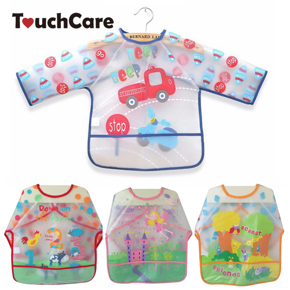 Long Sleeve Waterproof Coverall Baby Bibs Cute Animals Toddler Newborn Scarf Feeding Smock For Children Baby Boy Burp Cloths