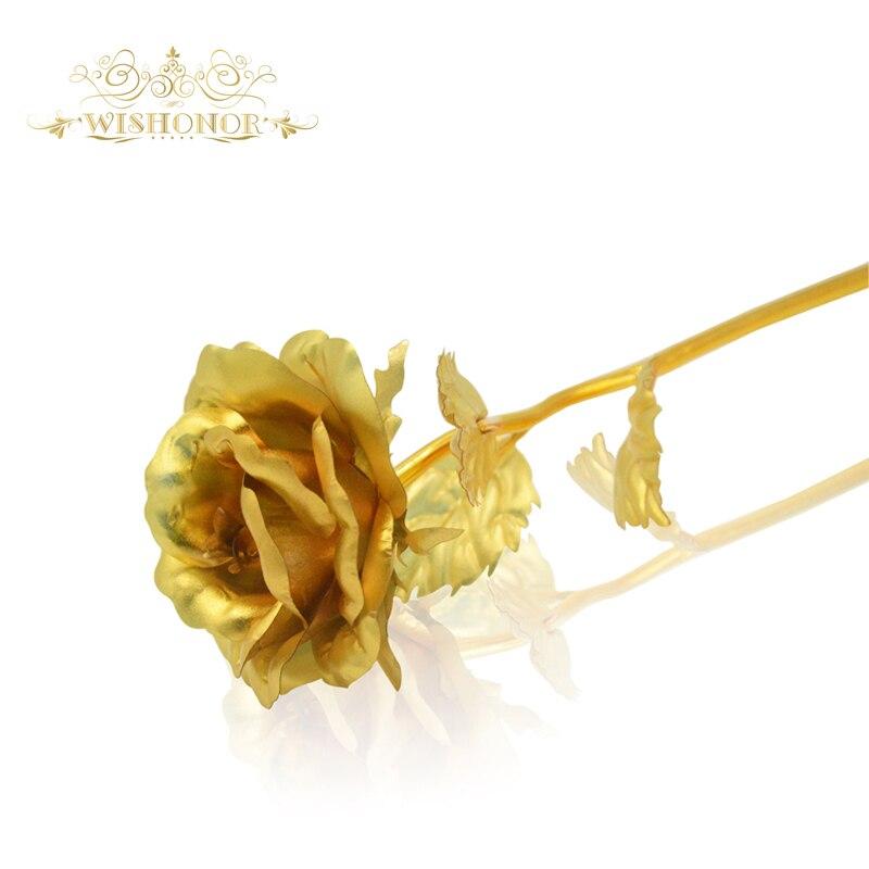 Doprava zdarma Zlatá růže Forever Láska Zlatá fólie Rose Normální 24K Zlatý květ pro svatbu Vánoční dekorace Valentine dárek