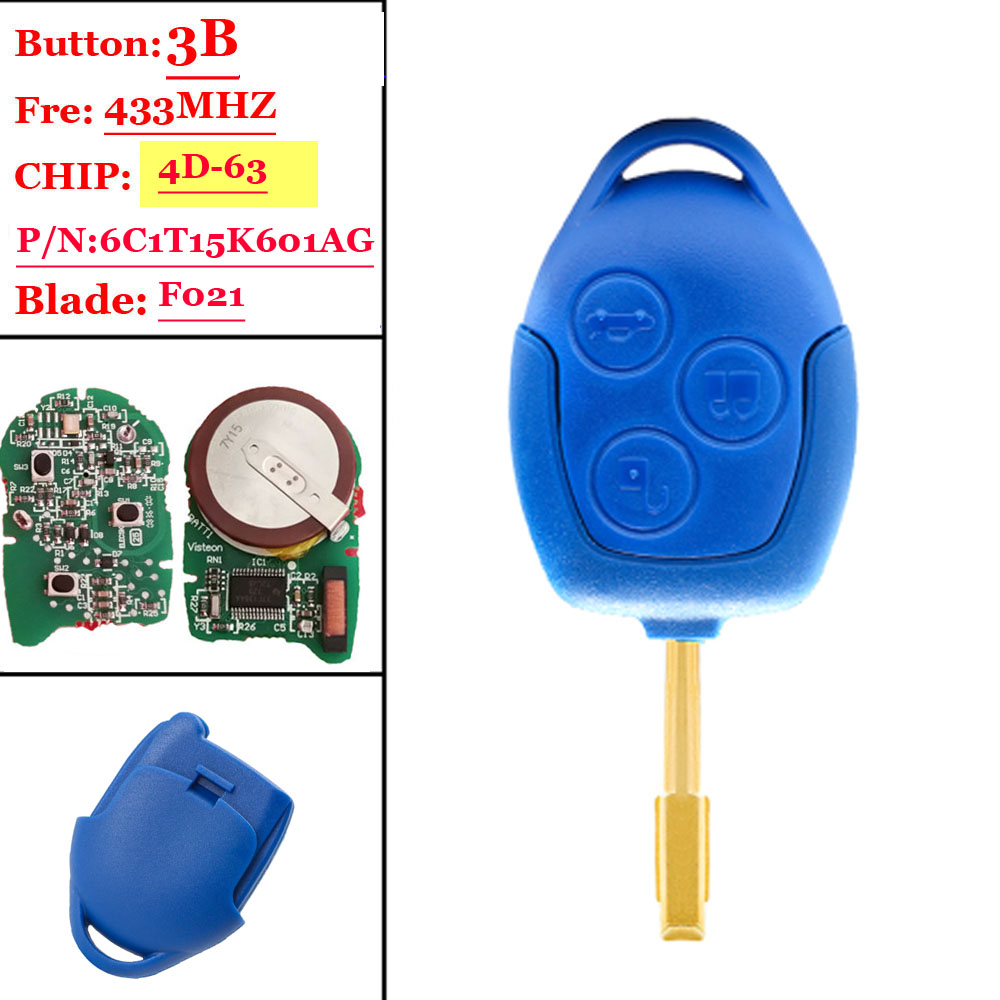 3 Button 433Mhz 4d-63 Chip With Emergency Insert Blade P/N:6C1T15K601AGCar Key Fob For Ford Transit WM VM No/Wi