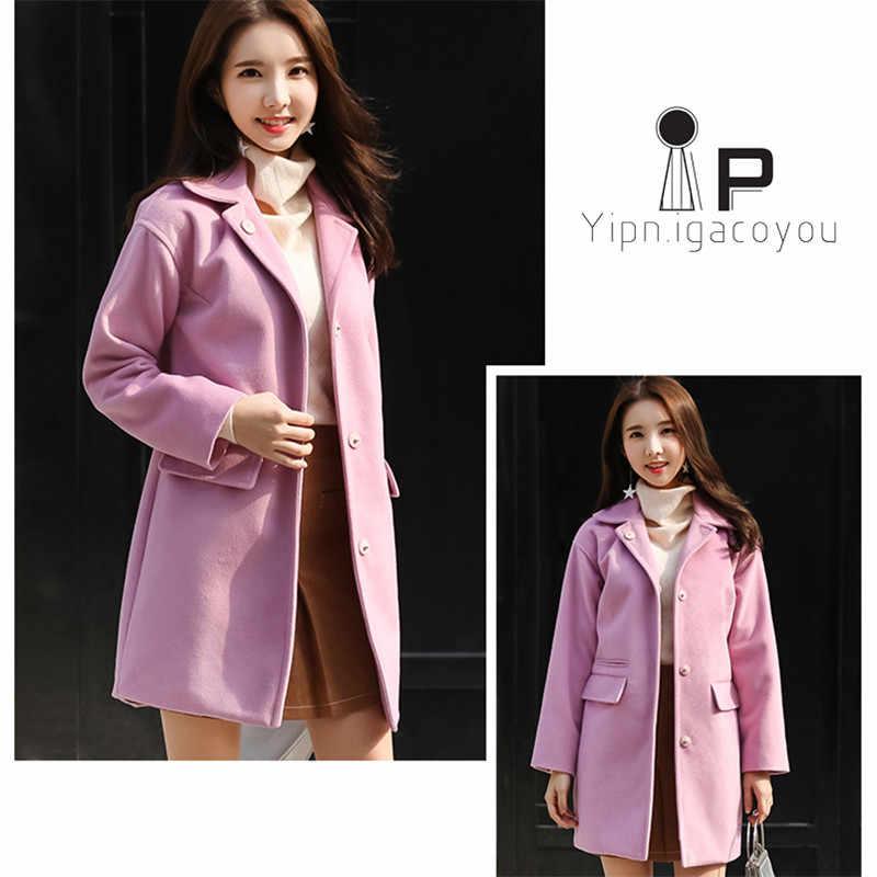 Осеннее длинное шерстяное пальто женская розовая куртка платье с открытыми плечами большой размер длинный рукав зимняя теплая смесь шерстяное пальто 2018 модное женское пальто