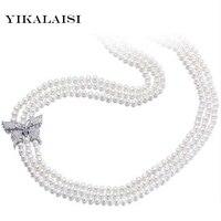 YIKALAISI 100% 2017 натуральное пресноводное длинное ожерелье 5 6 мм настоящий жемчуг медный белый золотой цвет украшения для женщин лучшие подарки