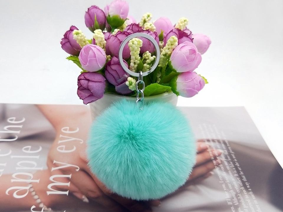 HTB1ivG2hGAoBKNjSZSyq6yHAVXaT - 20 Colors Fluffy Fur Pom Pom Keychains Soft Faux Rex Rabbit Fur Ball Car Keyring Pompom Key Chains Women Bag Pendant Jewelry Diy
