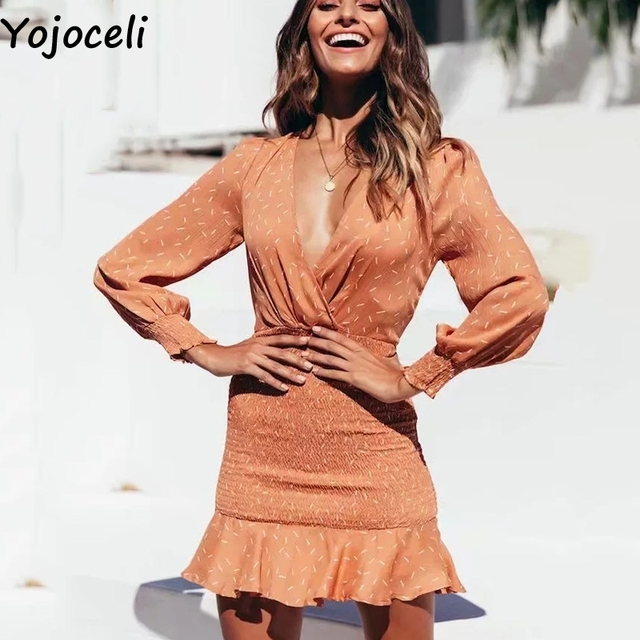 Corto Volantes Al Ceñido Sexy Con Estampado Vestido Fiesta Para Otoño Cuerpo De Mujer pwOcFdq