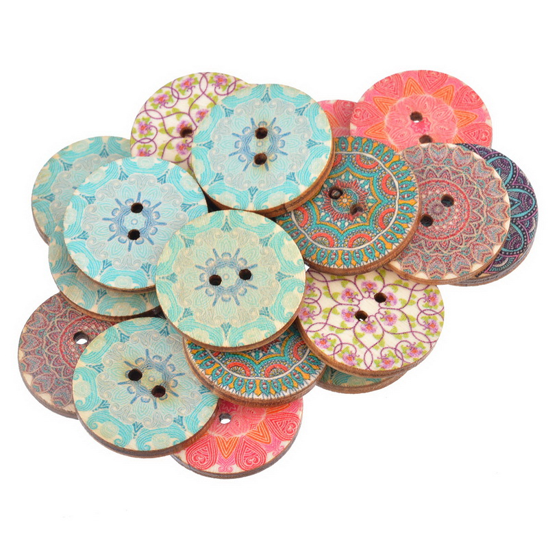 Hoomall 50PCs National  Pure Wood Buttons Craft Scrapbooking Decoration Buttons 25mm Sewing Accessories Random Mixed