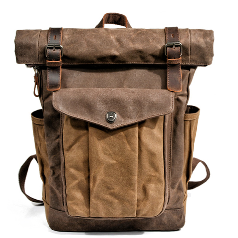 Muchuan hommes et femmes bâche grande capacité toile sac à dos livre sac extérieur alpinisme sac huile cire tissu sac mail