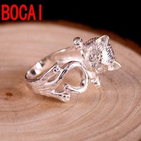 Genuine S925 silver ring opening day Korean female cat ring finger stereo trendsetter sweet personality ring