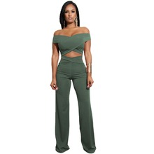 Women Set Bandages Tracksuits Sexy Off the shoulder cop Top+wide leg pants Two Piece Pants suits Full Female