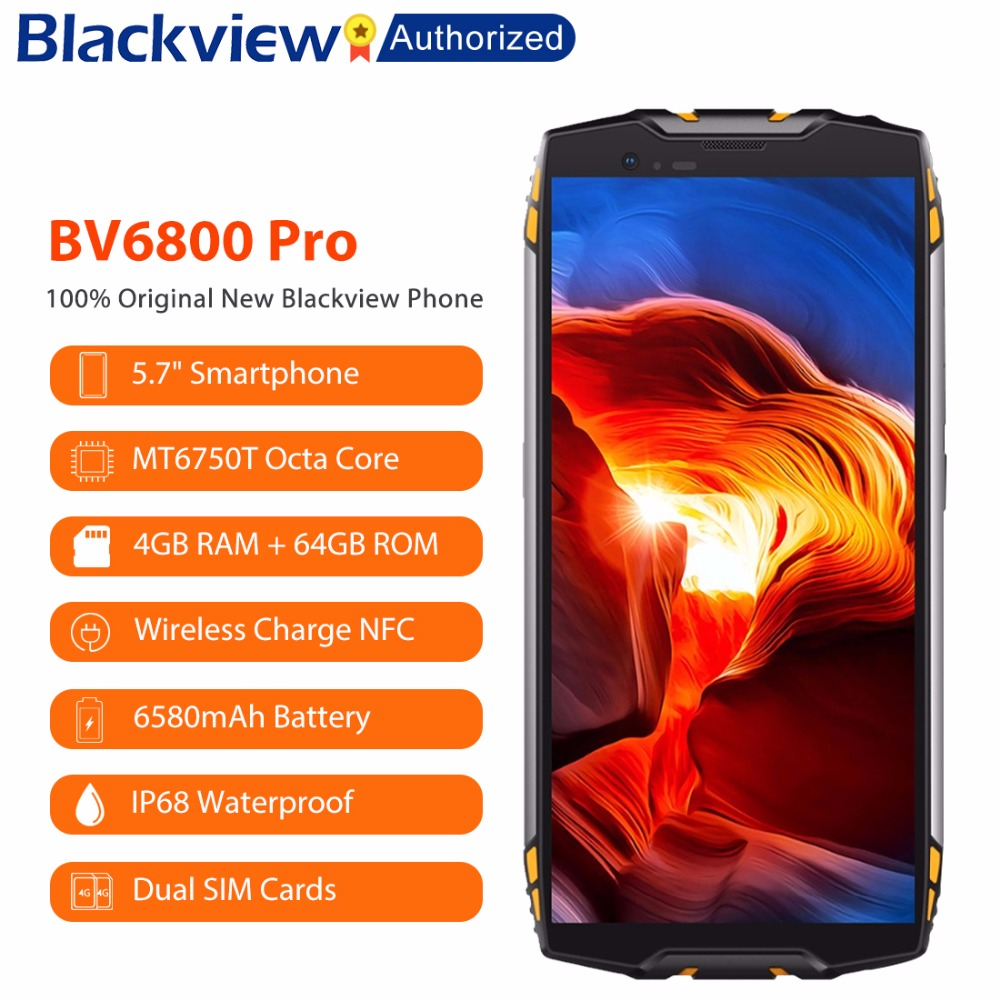 Blackview BV6800 Pro 5.7 Smartphone IP68 Étanche MT6750T Octa Core 4 gb + 64 gb 6580 mah Batterie Sans Fil charge NFC téléphone portable