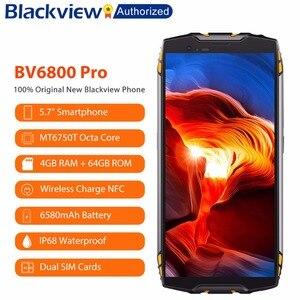 "Image 1 - البلاكفيو BV6800 برو 5.7 ""الهاتف الذكي IP68 مقاوم للماء MT6750T ثماني النواة 4GB + 64GB 6580mAh بطارية لاسلكية تهمة NFC هاتف محمول"