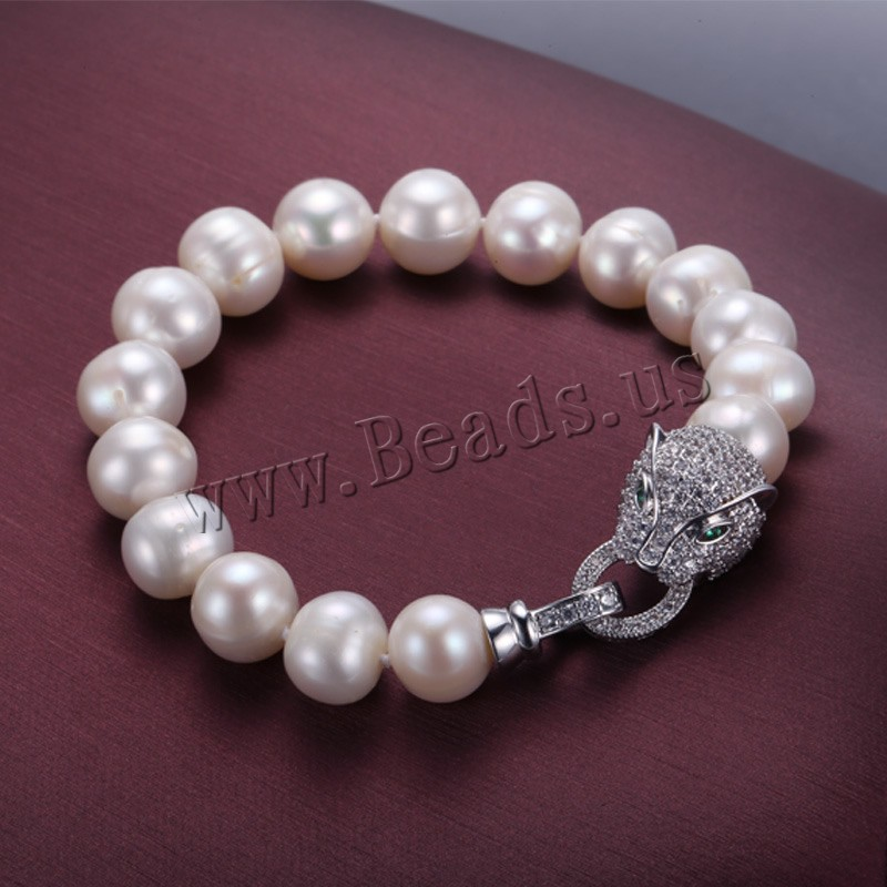 Unique Bracelet Fresh Water Pearl Leopard Clasp 9 10mm Natural White Pearl Brand Bracelets Free Shipping