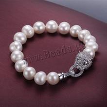 Unique pulsera perlas de agua dulce y del leopardo del corchete 9 – 10 mm Natural blanco perla pulseras de marca envío gratis
