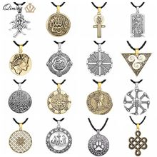 Punk Vichingo Degli Uomini Della Collana di Dichiarazione Dei Monili Dell'annata Allah Evil Eye Pagan Bussola Arabo Egitto Slavo Donne Collana Amuleto(Hong Kong,China)