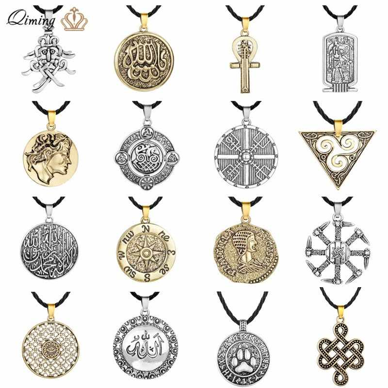 Punk Viking Pria Kalung Pernyataan Vintage Perhiasan Allah Mata Jahat Pagan Kompas Bahasa Arab Mesir Slavia Kalung Wanita Jimat