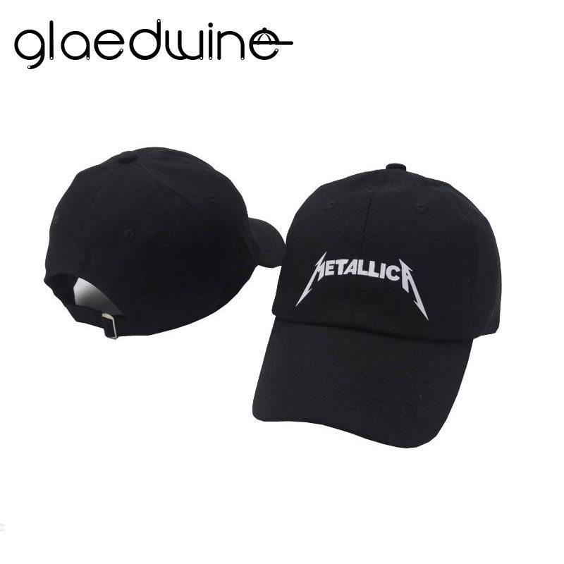 343d9f5f135 Glaedwine Black Baseball Caps Cool Rock letter Metallica Band Fans Cap  Metal Cotton Baseball Trucker Caps