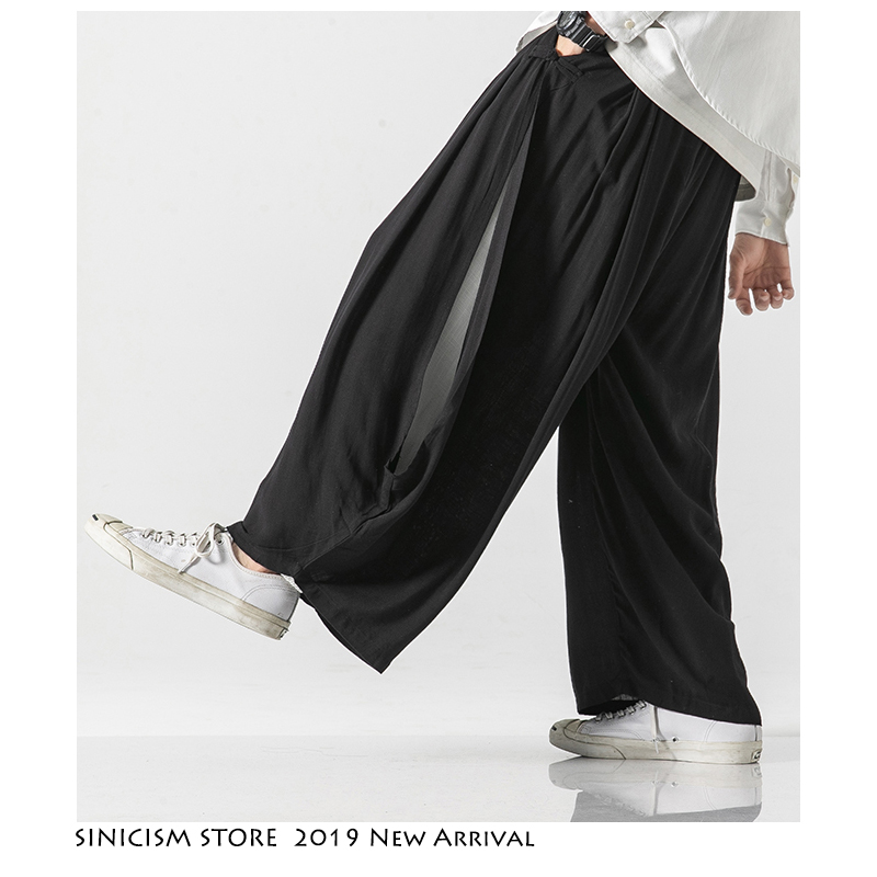Sinicism Store Men Women New Autumn Casual Wide Leg Pants Mens Chinese Style Costume 2019 Full Pants Male Solid Oversize Pants