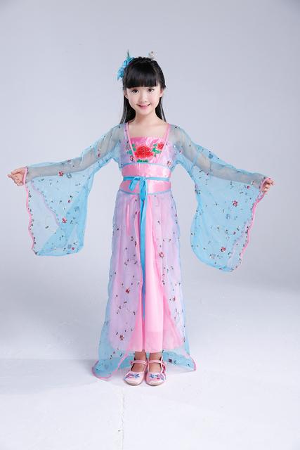 Chinês Tradicional Traje Antigo Tang Dinastia Princesa Roupa das crianças Menina Roupas de Dança Hanfu Chinês Roupas de Cinema 18