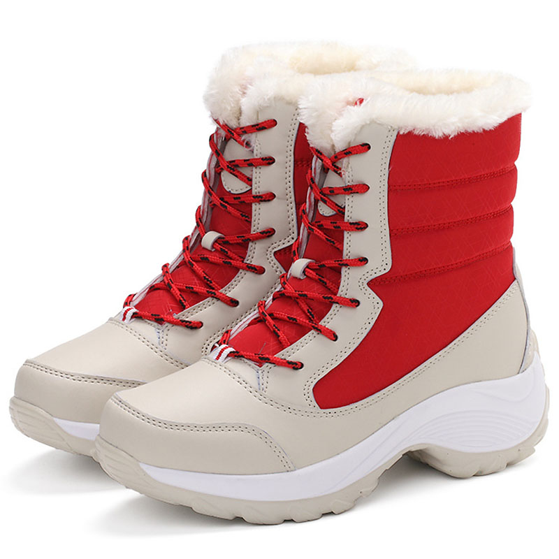 azul Beige Tamaño Mujer 253 Invierno H Zapatos rojo Las Nieve negro Mujeres Botas Caliente Plus Plataforma De 0OxvqAUnwZ