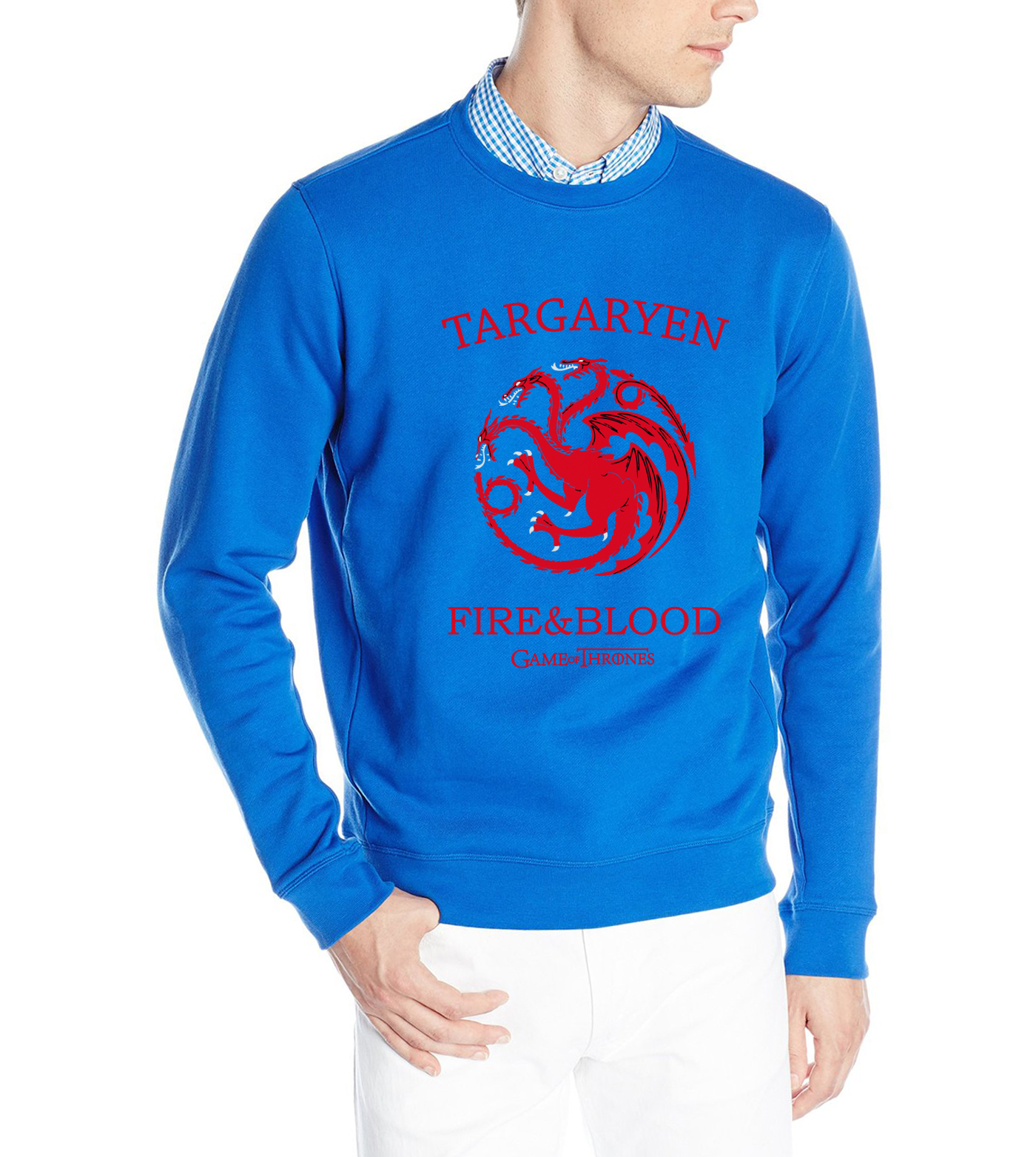 funny  fire & blood Game of Thrones sweatshirt  hoodies for men 2019 man long sleeve hip-hop pullovers fall winter
