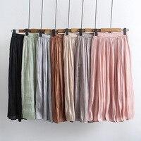 2019 summer new women's skirt Korean simulation silk bright silk irregular fairy thin half length chiffon pleated skirt AY929
