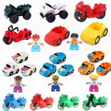 Legoing Duplo Cars Motorcycles Figure Big Size MOC Single Sale DIY Building Blocks Toy for Children Compatible for Duplo Blocks(China)
