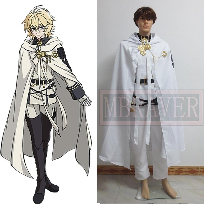 Seraph of the End Mikaela Hyakuya Cosplay Costume Anime Cos Owari no Serafu Hot Halloween Vampire Uniform Cloak Full set