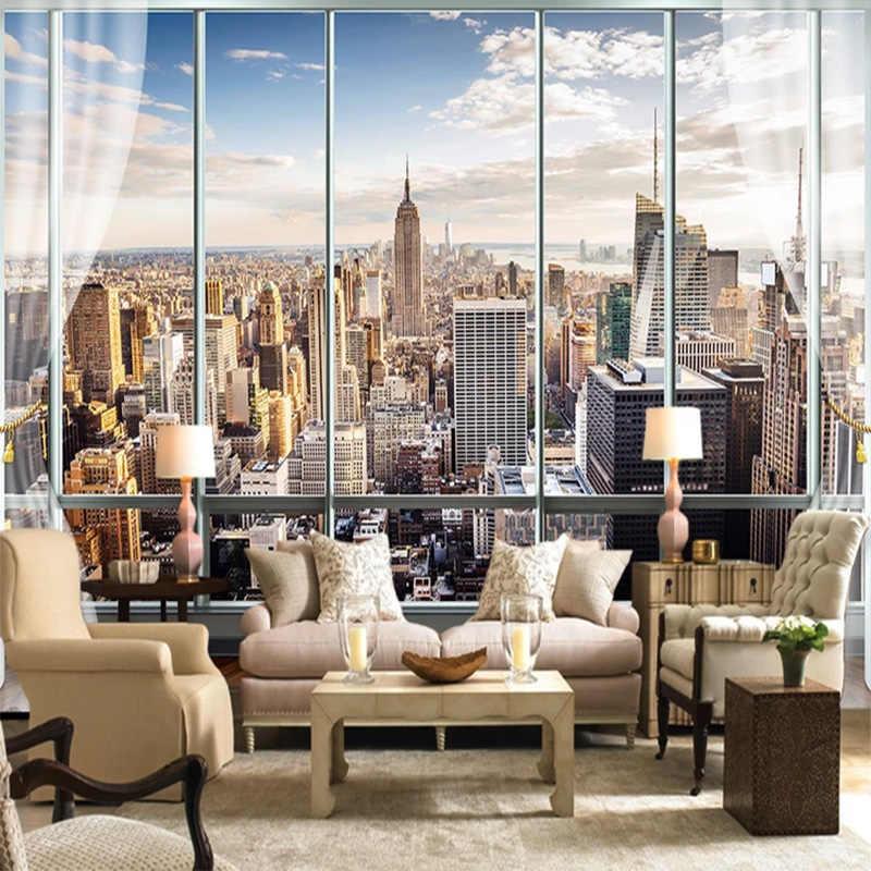 Kustom 3D Foto Wallpaper Eropa 3D Window New York High-RISE Mural Seni Wallpaper Ruang Tamu Dekorasi Rumah fresco