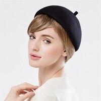 Black Women Beret Hats Winter Spring Solid Wool Fascinator Hats Casual Cocktail Wedding Church Ascot Race