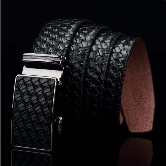 2016 líneas de Punto Cinturón de Hebilla Automática Cinturón de Diseñador Para Los Hombres de la Marca de Lujo Negro hombres correa del Negocio del Cuero de cintura Alta calidad