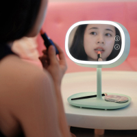 Woodpow Makeup Mirror Lamps Touch Screen Dresser Table Lamp Reading Desk Cosmetic Charging LED Night Light GF Gift Lamplet