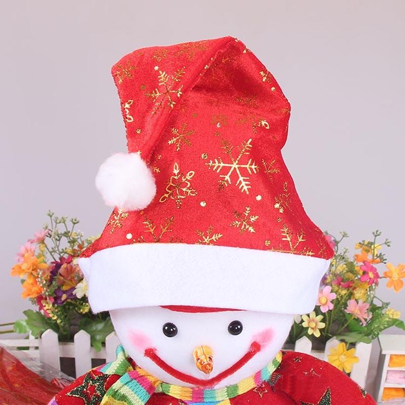 2017 Fashion Hot Unisex Red New Christmas Holiday Xmas Caps Silver/Gold Snowflake Print Santa Claus Caps Gifts Holiday Costumes