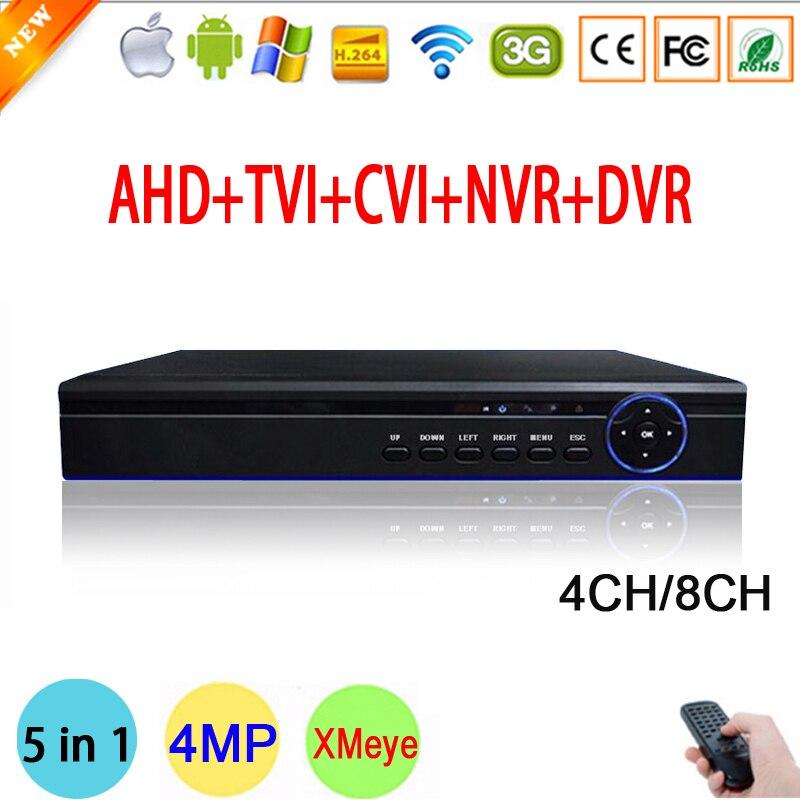 ФОТО New XMeye Hi3520D Chip 4MP 4CH/8CH Surveillance Video Recorder Hybrid Coaxial 5 in 1 TVI CVI NVR AHD CCTV DVR Free Shipping