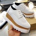 classic and comfortable women thick wedge heel brogue shoes female Sawtooth sole lacing school young girl shoes wholsale