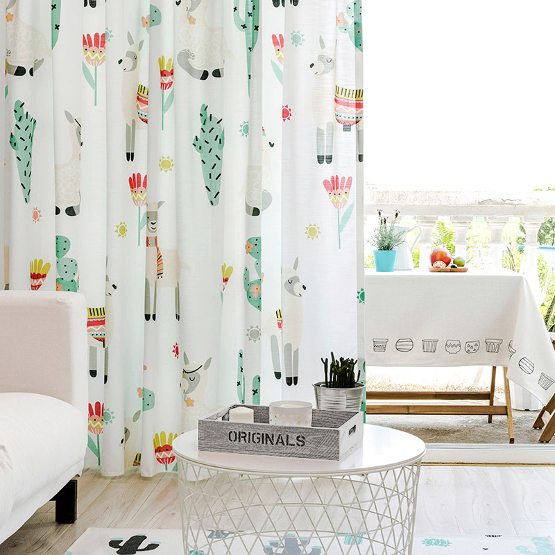 Semi Blackout Curtains for Living Room Creative Curtains for Kids Bedroom Cactus Alpaca Printed Curtain Cotton