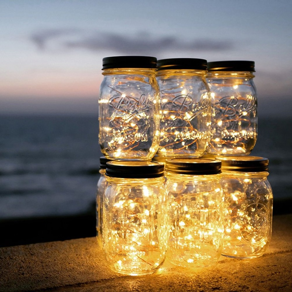 Solar Mason Jar Lamp Decoration Lantern Courtyard Wave Bottle Light Outdoor String Lids For RegularMouth Jars For PatioLampDecor