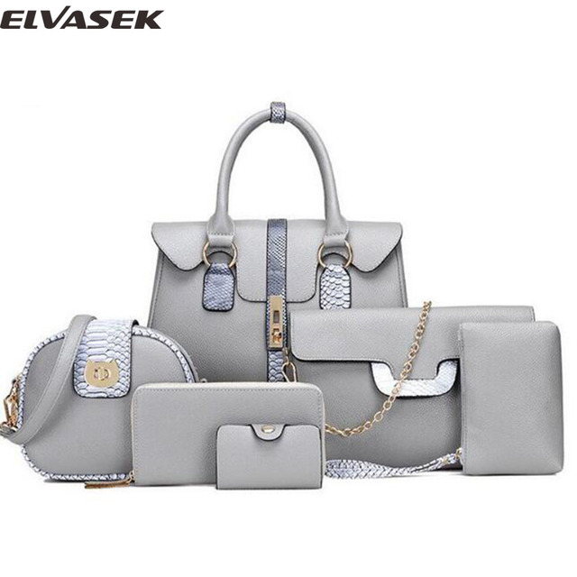 Elvasek new 2017 fashion women handbags messenger bag pu leather bags shoulder bag bolasa pouch crossbody 6 bags a set DH0233