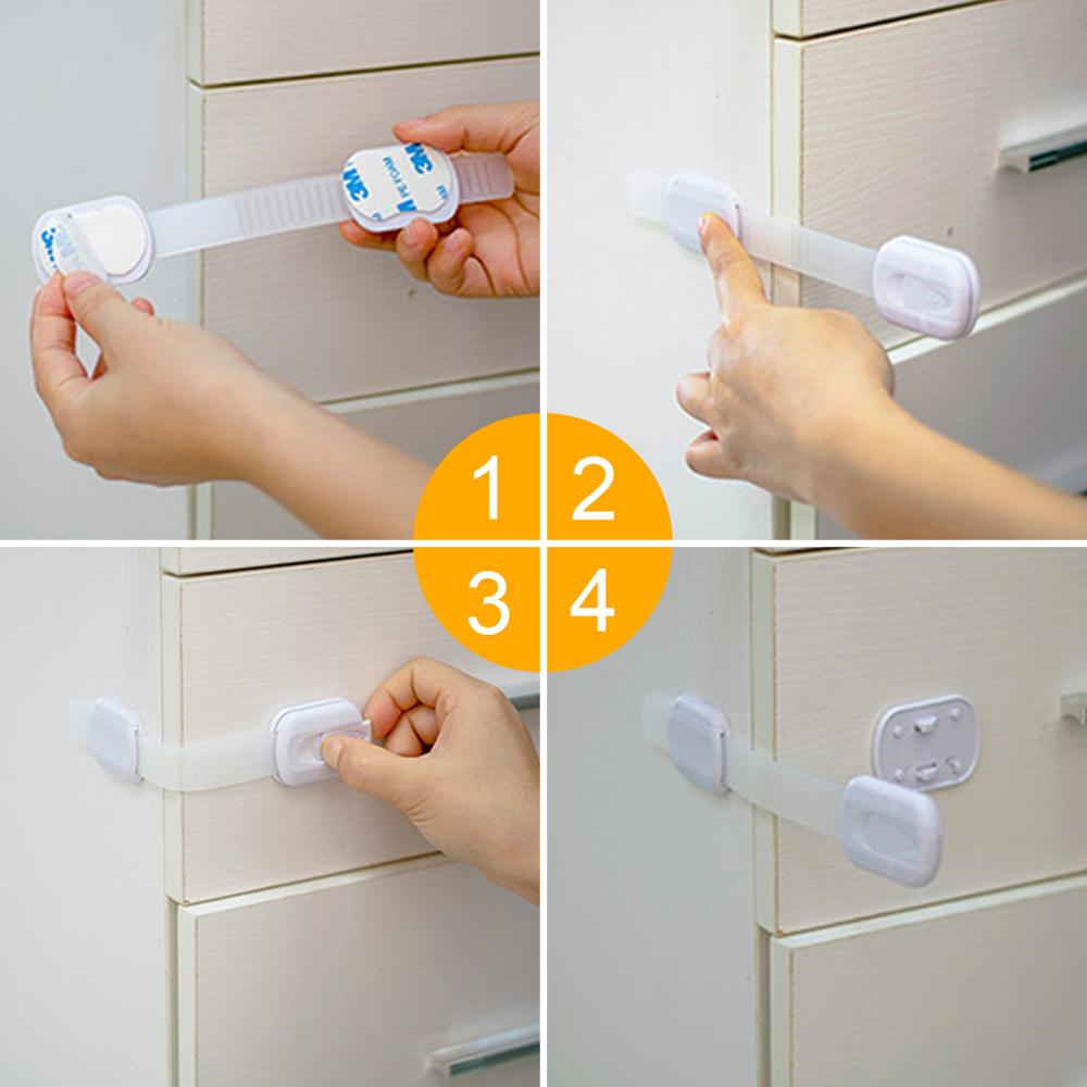 (9 PCS) Baby Safety Locks Adjustable Safety Locks Length & 3M Adhesive Sturdy Cabinet Lock For Drawers, Appliances,Furnitu