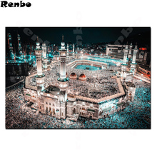 5D DIY Алмазная картина, исламская мечеть, Ночной пейзаж, алмазная вышивка, наборы для вышивки крестом, квадратный декор из алмазной мозаики A131