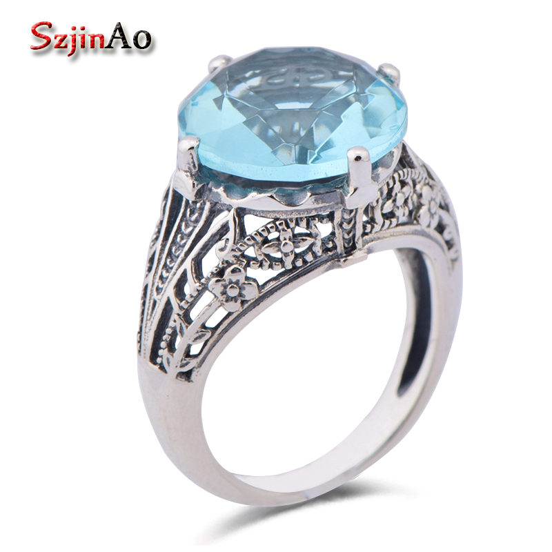 Szjinao Valentines day gift delicate hollow-out pattern aquamarine engagement promise ring 925 sterling silver jewelry