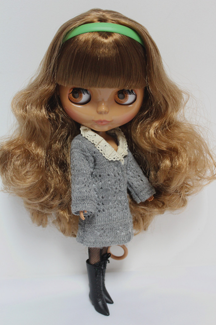 Free Shipping big discount RBL-137DIY Nude Blyth doll birthday gift for girl 4colour big eyes dolls with beautiful Hair cute toy green j looking for alaska