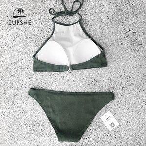 Image 5 - Cupshe Matcha Ijs Halter Bikini Set Vrouwen Solid Backless Crop Top Sexy Twee Stukken Badmode 2020 Meisje Strand Sexy badpakken